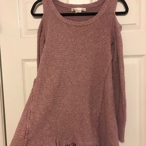 Kaisely Sweaters - Trendy Cold Shoulder Mauve Sweater